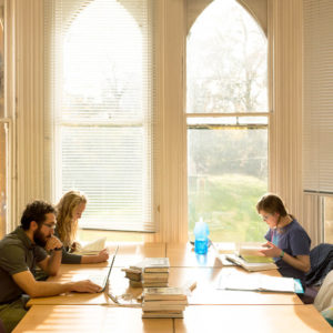 Students studying in the Wycliffe Hall Library